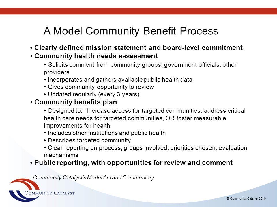 A Model Community Benefit Process