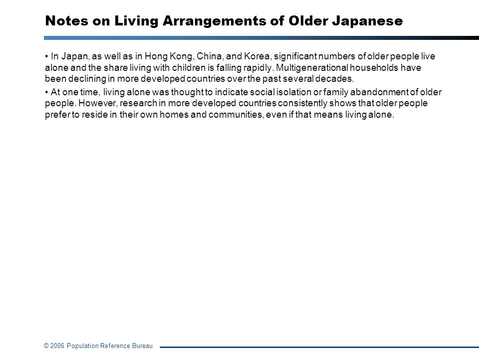 Notes on Living Arrangements of Older Japanese