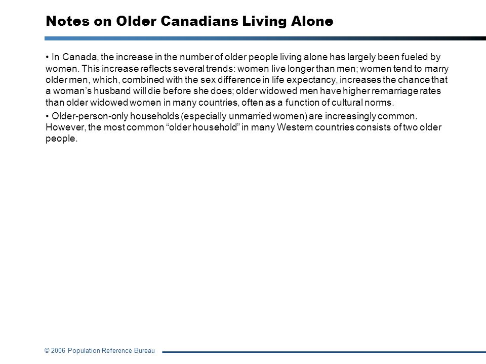 Notes on Older Canadians Living Alone