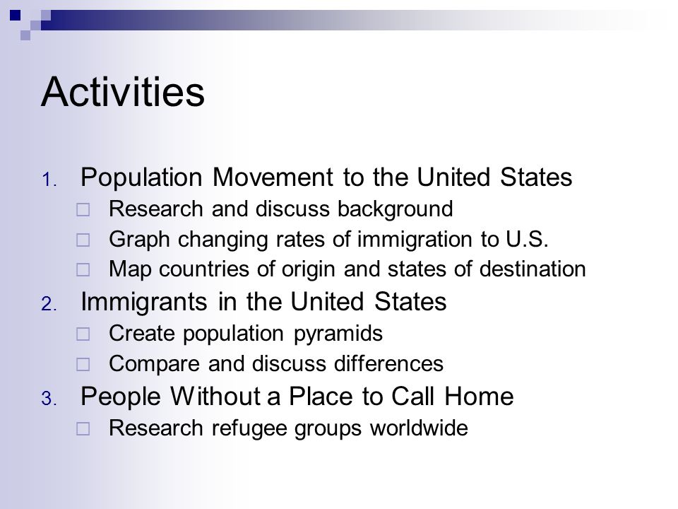Activities Population Movement to the United States