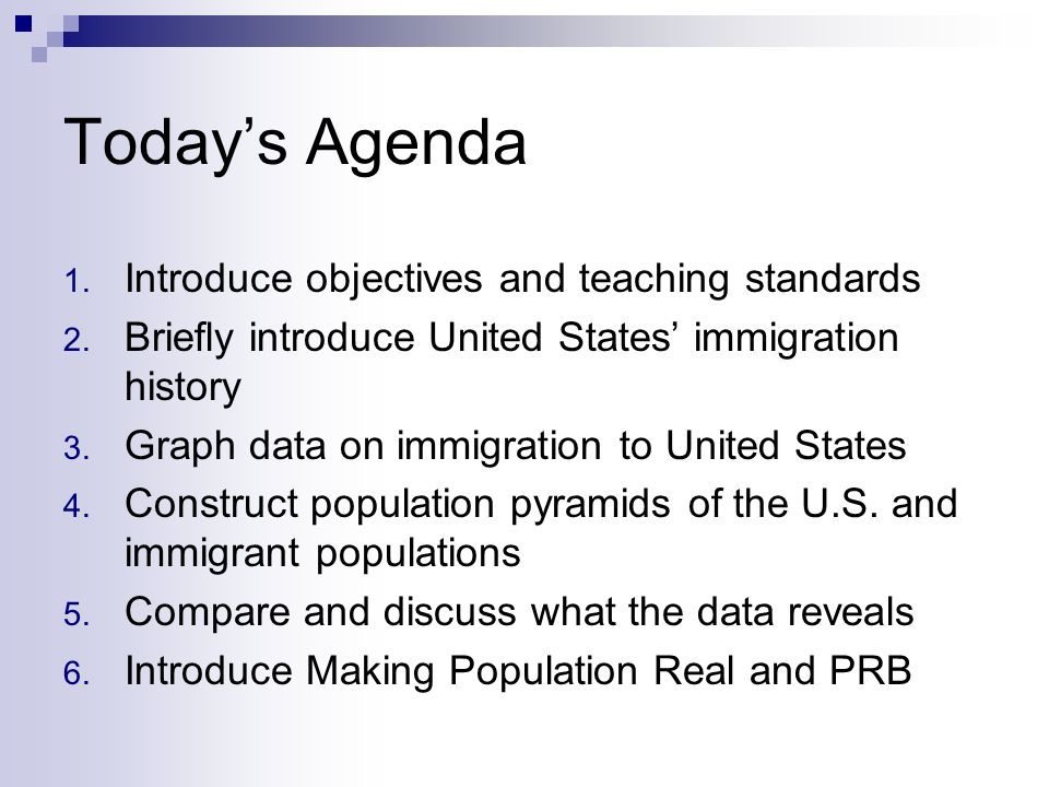 Today's Agenda Introduce objectives and teaching standards