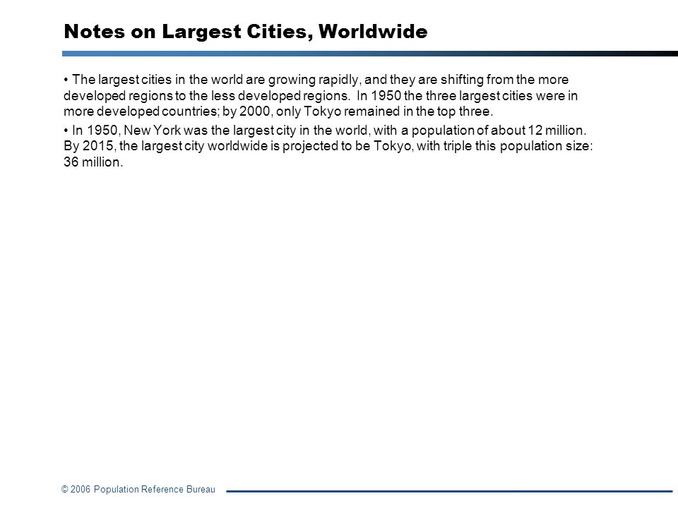 Notes on Largest Cities, Worldwide