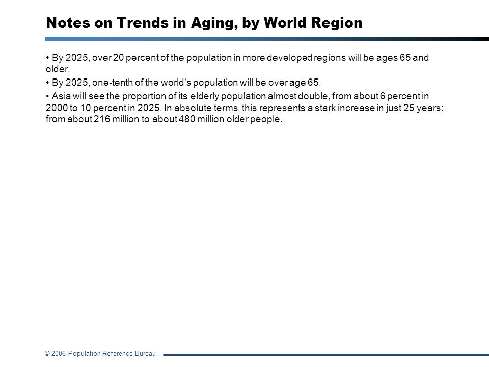 Notes on Trends in Aging, by World Region