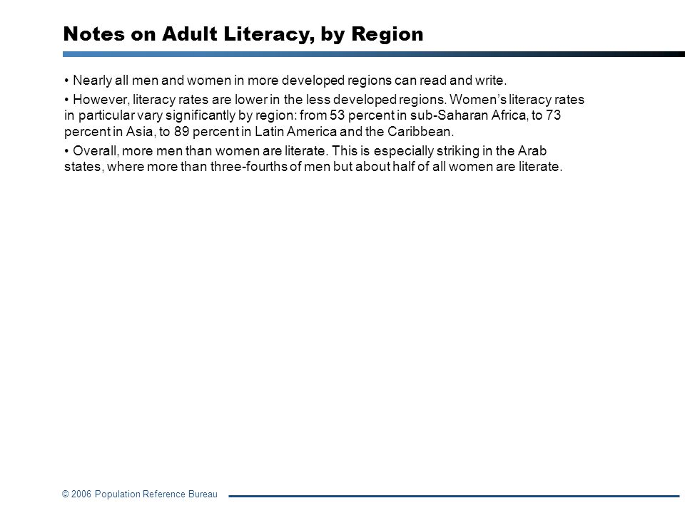 Notes on Adult Literacy, by Region