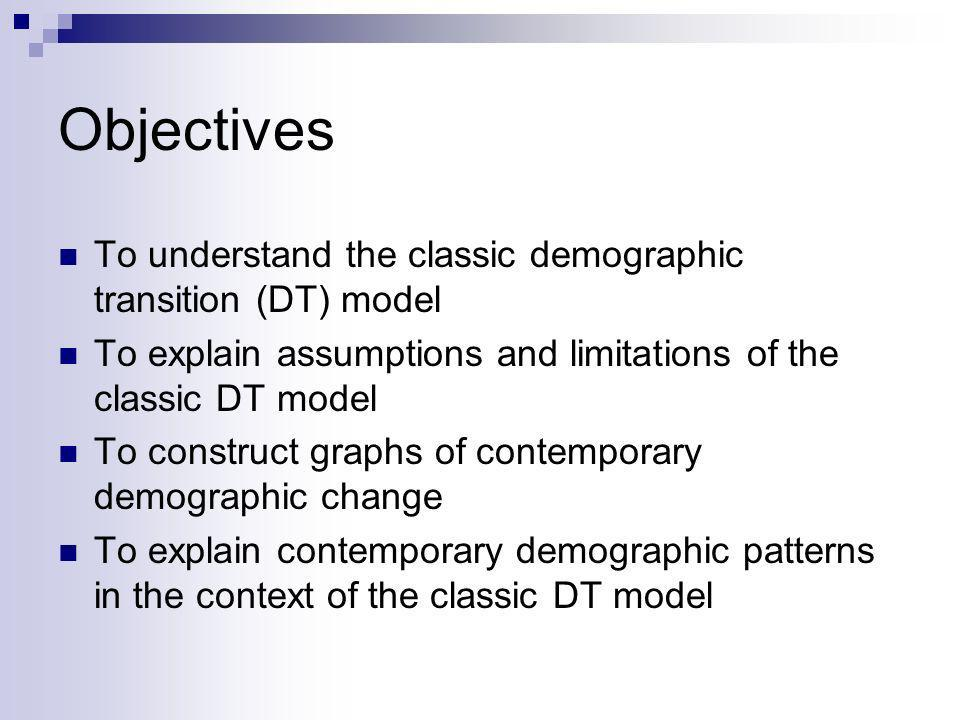 Objectives To understand the classic demographic transition (DT) model
