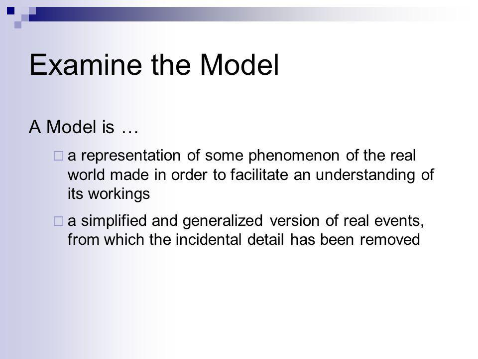 Examine the Model A Model is …