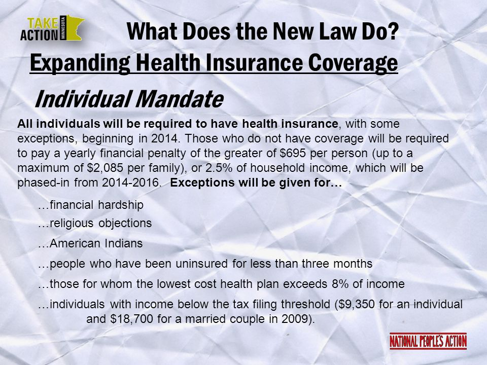 Expanding Health Insurance Coverage Individual Mandate