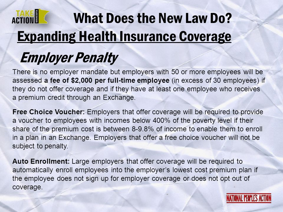 Expanding Health Insurance Coverage Employer Penalty