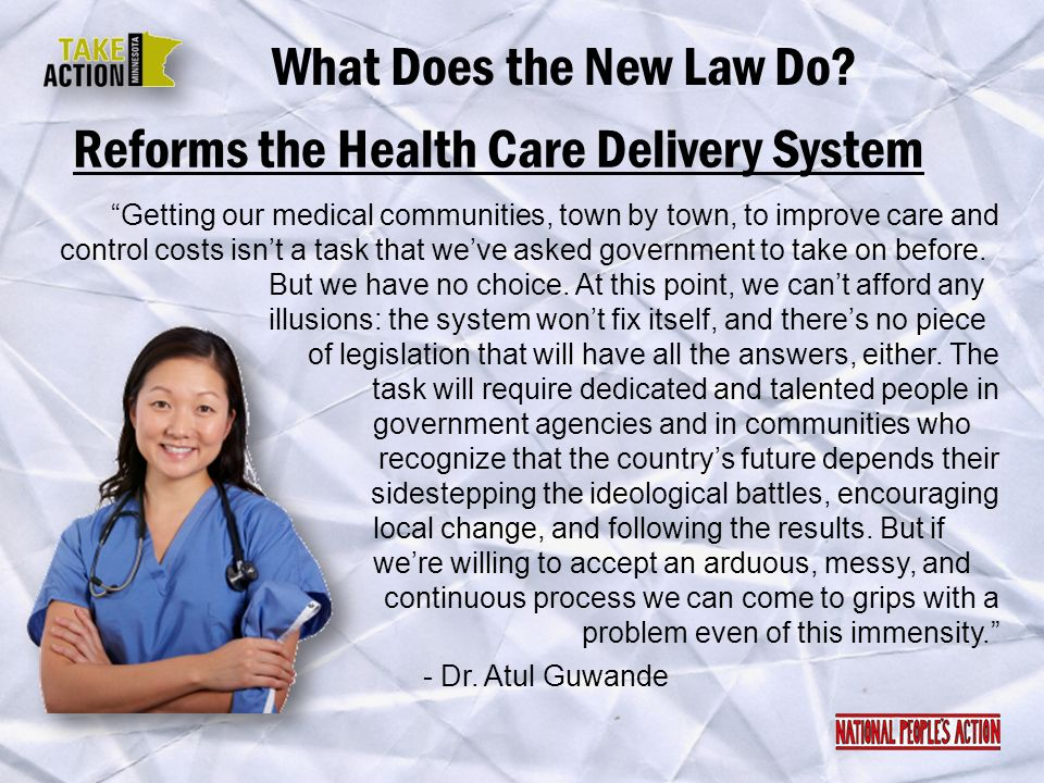 Reforms the Health Care Delivery System