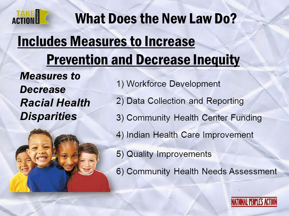 Includes Measures to Increase Prevention and Decrease Inequity