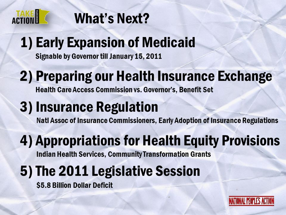 1) Early Expansion of Medicaid