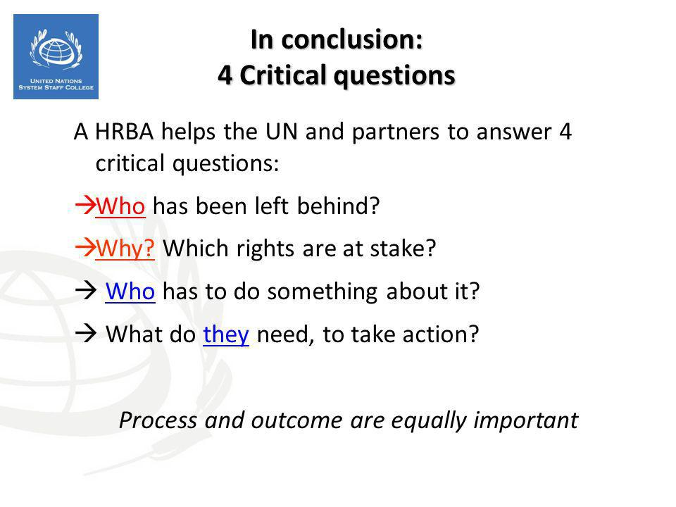 In conclusion: 4 Critical questions