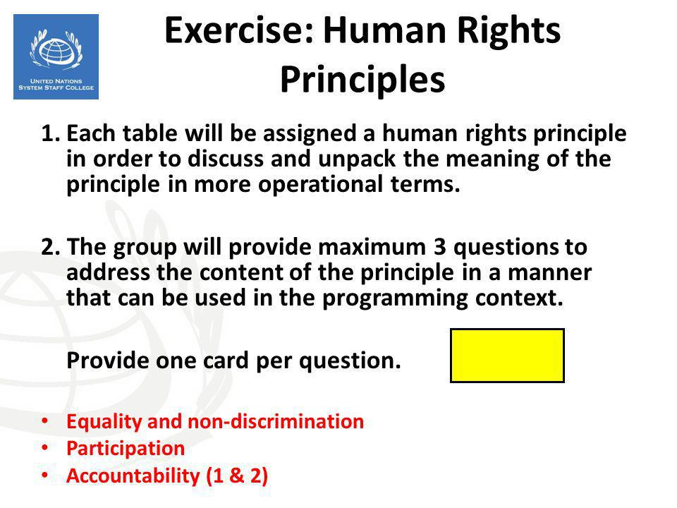 Exercise: Human Rights Principles