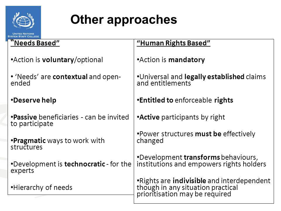 Other approaches Needs Based Action is voluntary/optional
