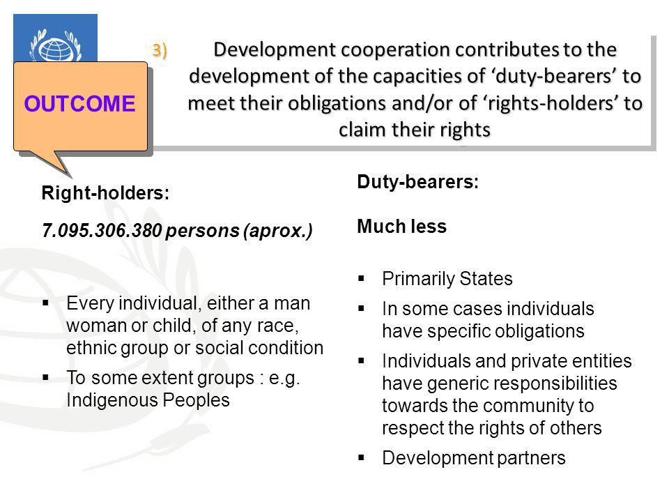 3) Development cooperation contributes to the development of the capacities of 'duty-bearers' to meet their obligations and/or of 'rights-holders' to claim their rights