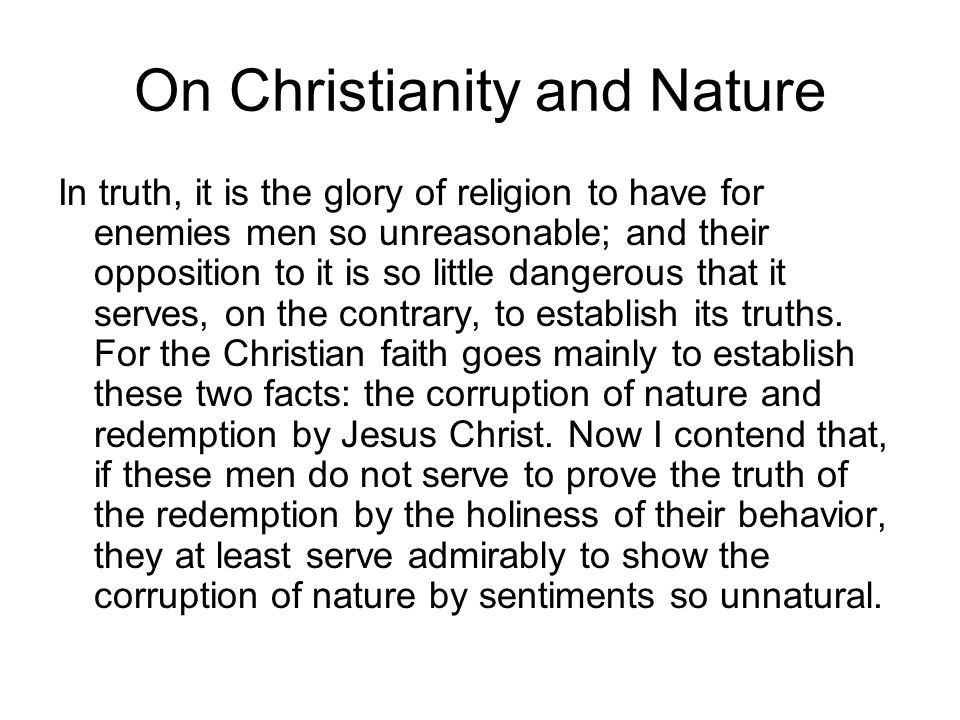 On Christianity and Nature