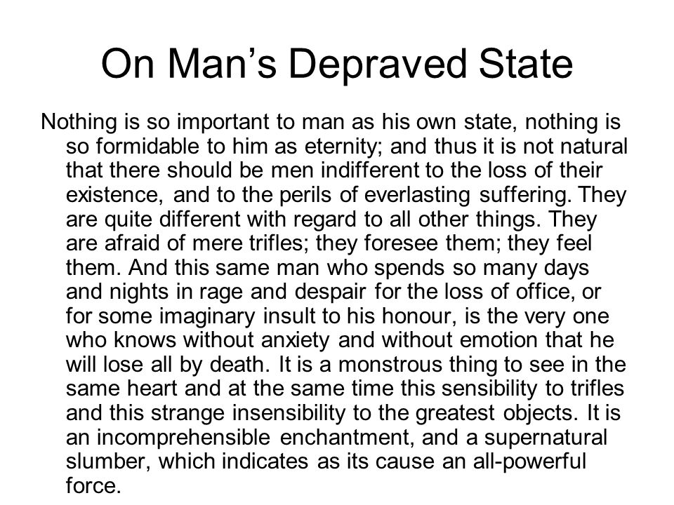 On Man's Depraved State