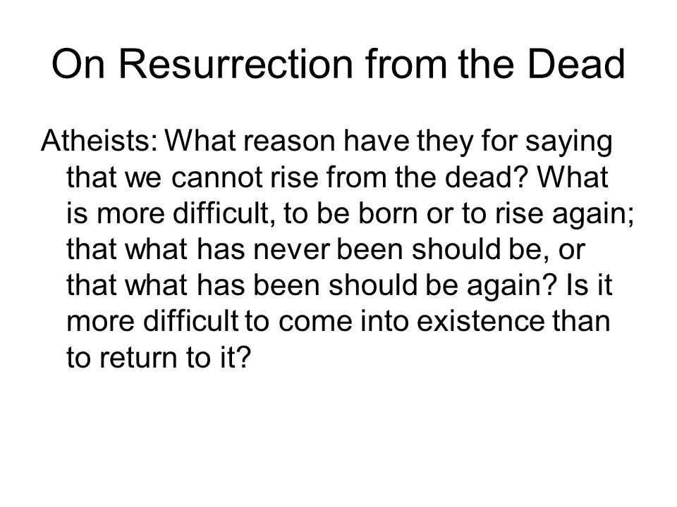 On Resurrection from the Dead