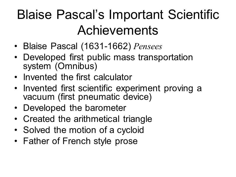 Blaise Pascal's Important Scientific Achievements
