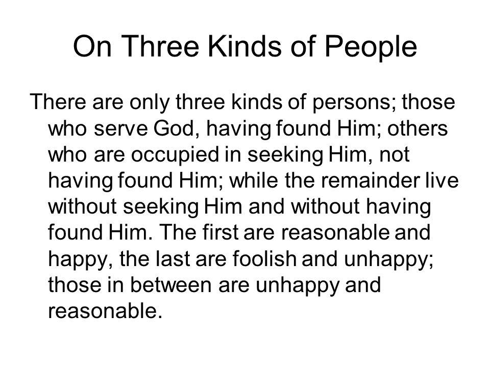 On Three Kinds of People