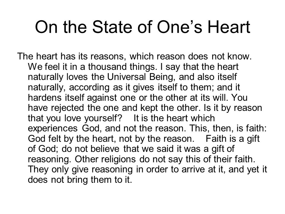 On the State of One's Heart