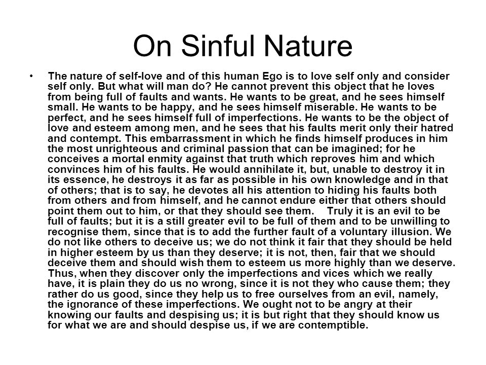 On Sinful Nature