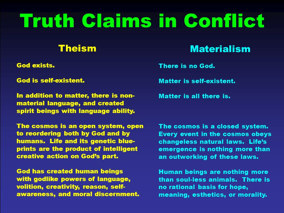Truth Claims in Conflict
