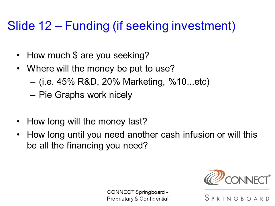 Slide 12 – Funding (if seeking investment)