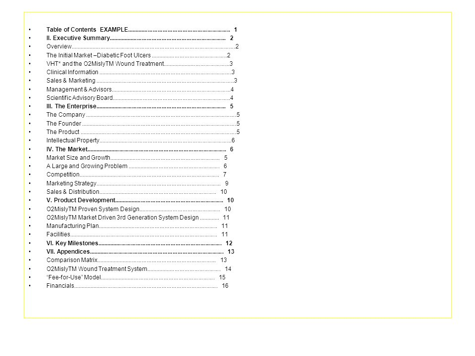 Table of Contents EXAMPLE............................................................... 1