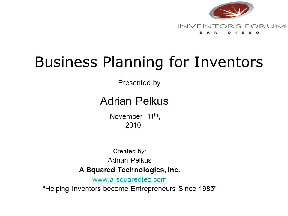 Business Planning for Inventors