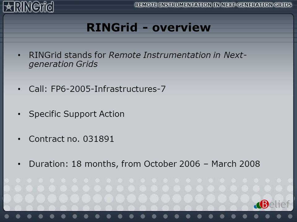RINGrid - overviewRINGrid stands for Remote Instrumentation in Next- generation Grids. Call: FP6-2005-Infrastructures-7.