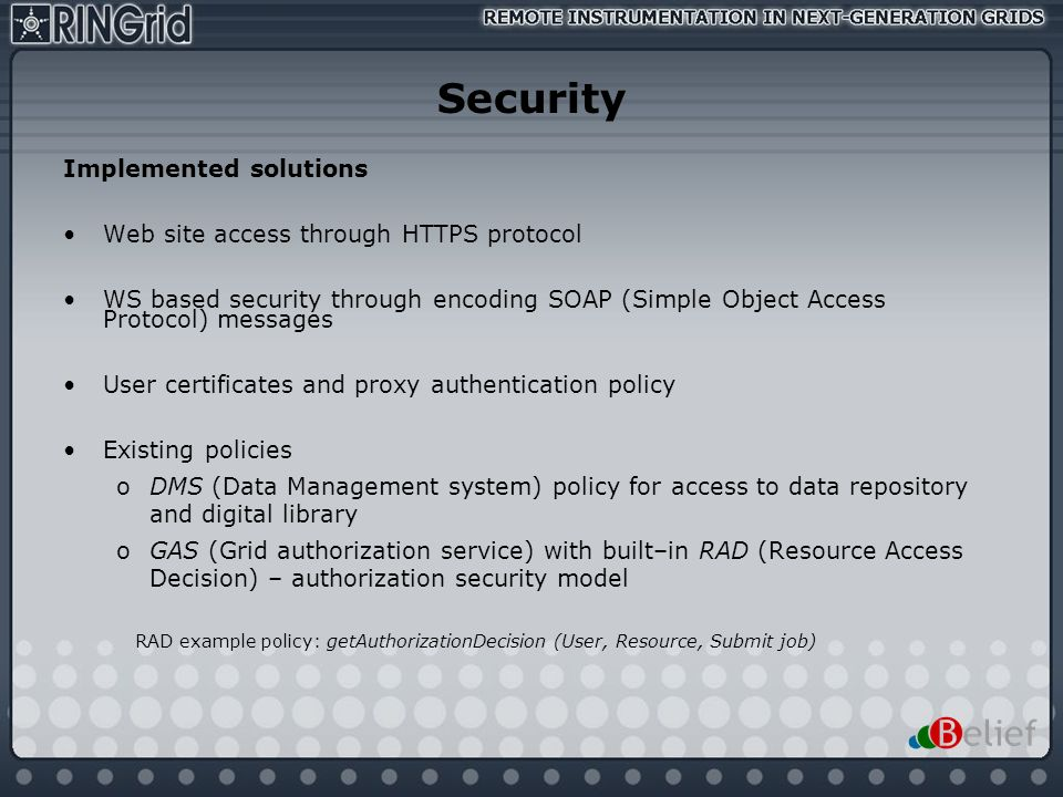 Security Implemented solutions Web site access through HTTPS protocol