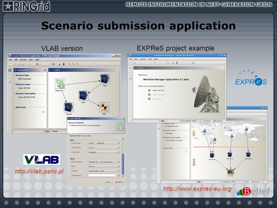 Scenario submission application
