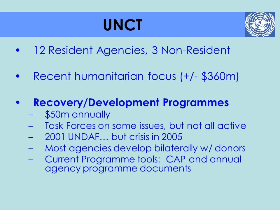 UNCT 12 Resident Agencies, 3 Non-Resident