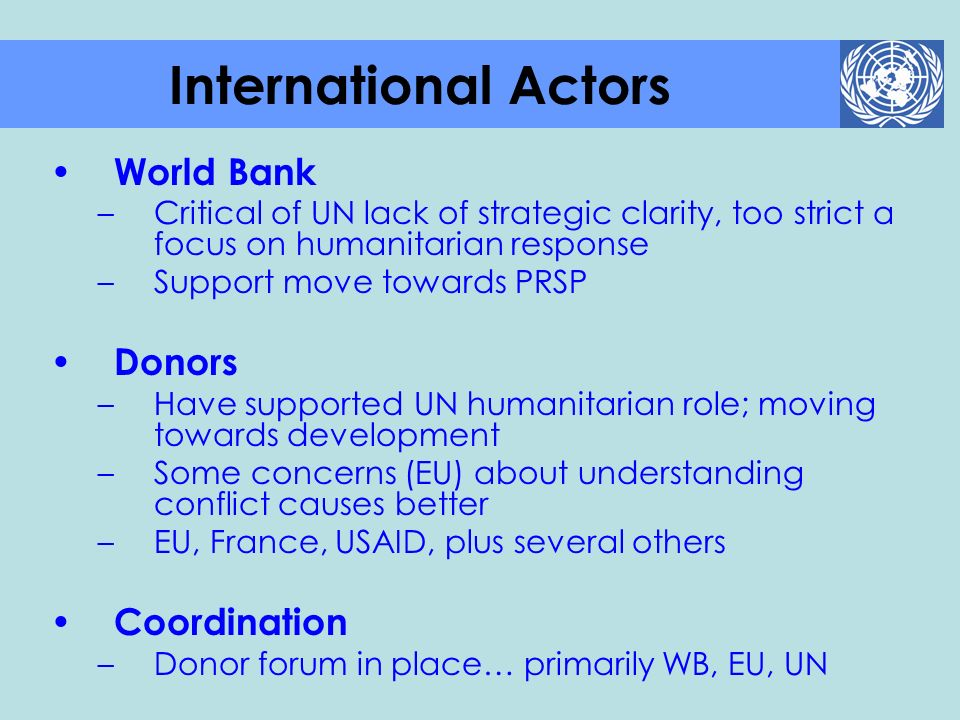 International Actors World Bank Donors Coordination