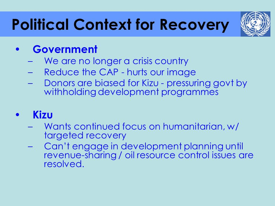 Political Context for Recovery