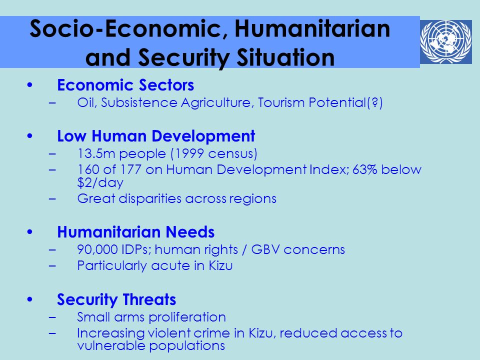 Socio-Economic, Humanitarian and Security Situation