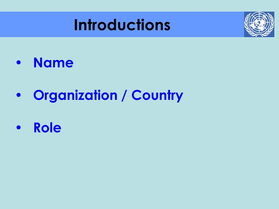 Introductions Name Organization / Country Role