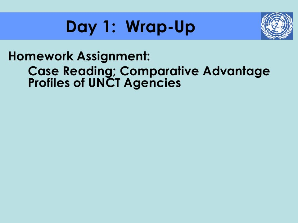 Day 1: Wrap-Up Homework Assignment:
