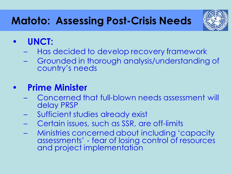 Matoto: Assessing Post-Crisis Needs