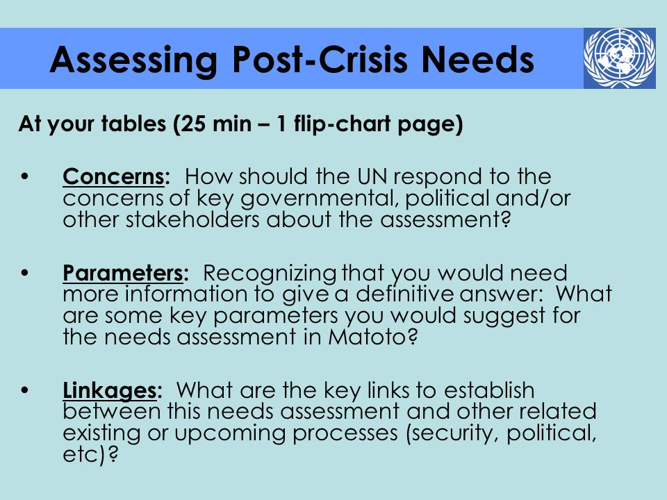 Assessing Post-Crisis Needs