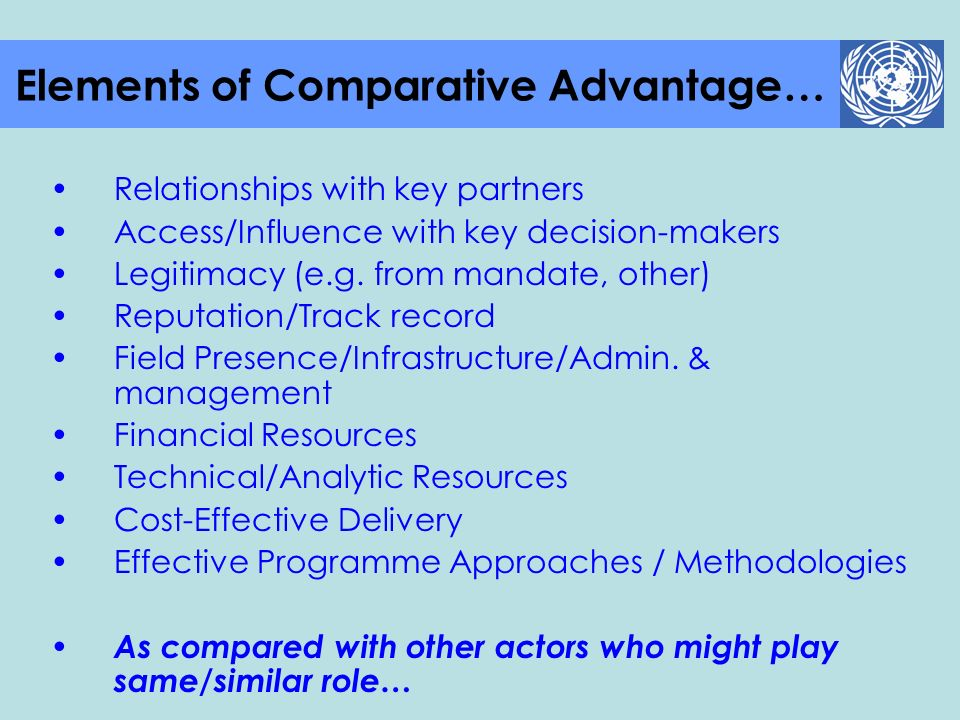 Elements of Comparative Advantage…