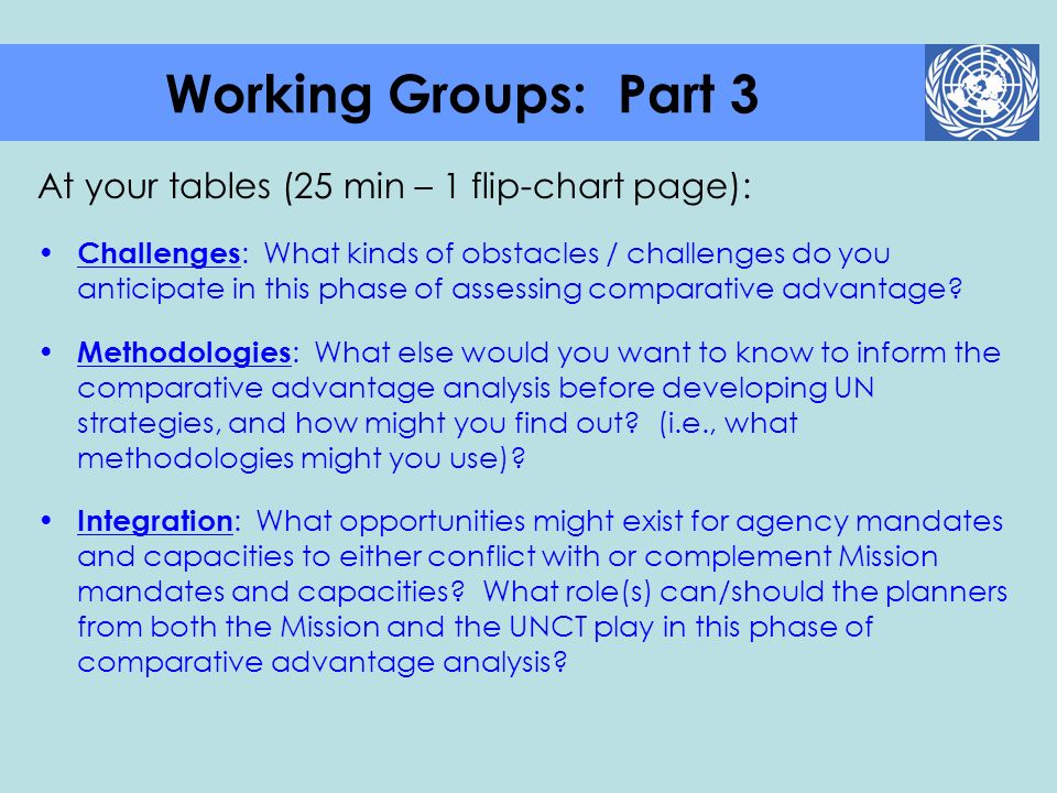 Working Groups: Part 3 At your tables (25 min – 1 flip-chart page):