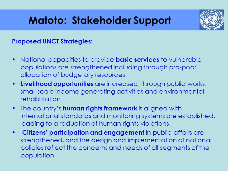 Matoto: Stakeholder Support