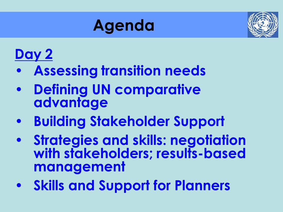 Agenda Day 2 Assessing transition needs