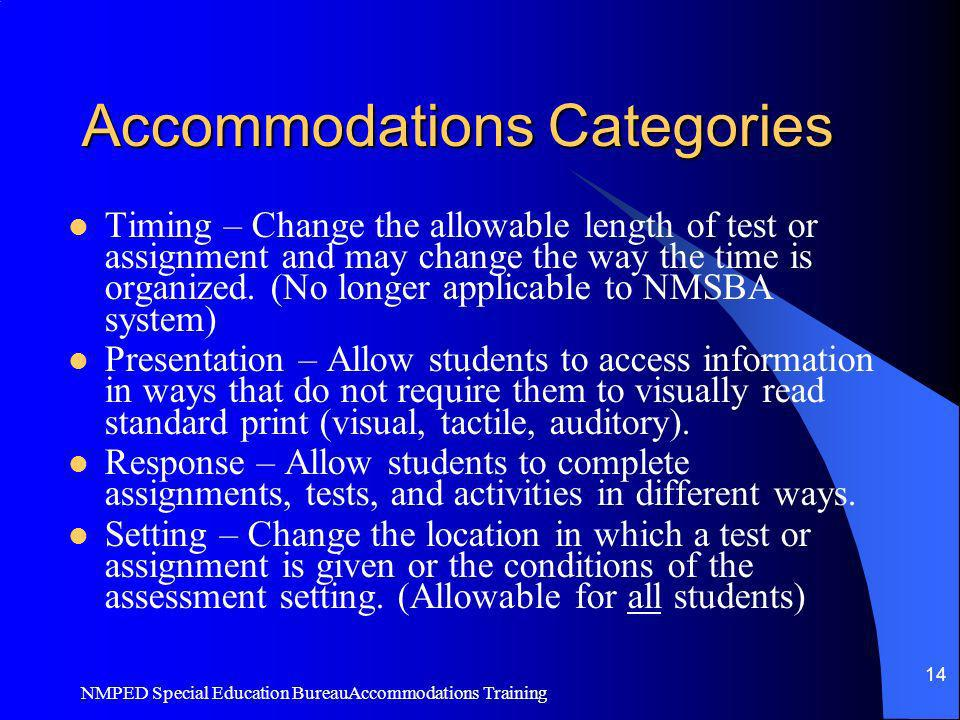 Accommodations Categories