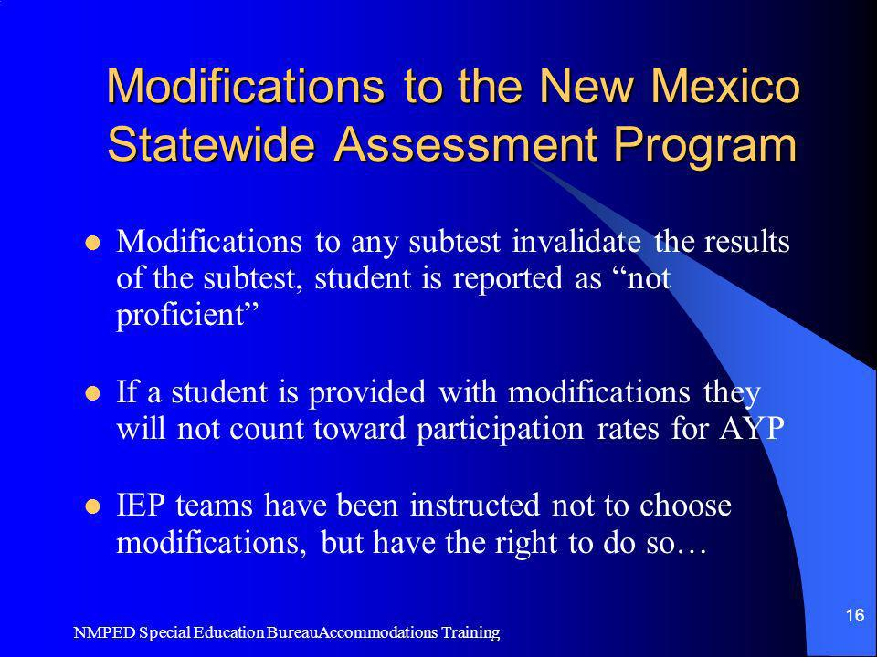 Modifications to the New Mexico Statewide Assessment Program