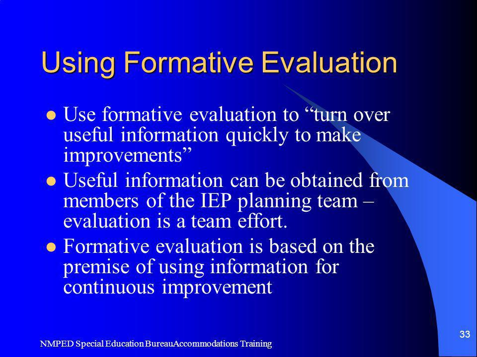 Using Formative Evaluation