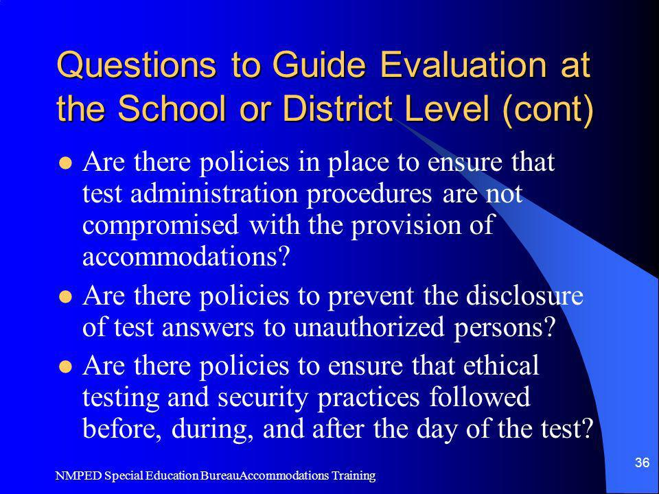 Questions to Guide Evaluation at the School or District Level (cont)