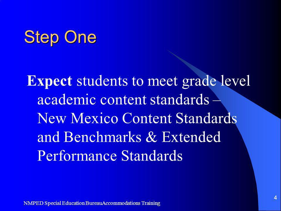 Step One Expect students to meet grade level academic content standards –